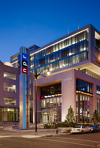 NPR Headquarters exterior icon tower
