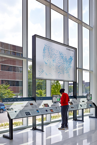 NPR Headquarters Lobby exhibit reader rail and network map